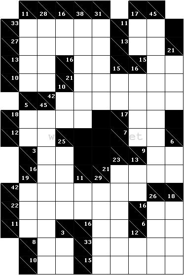 A sample kakuro cross sums puzzle - Kakuro cross sums combinations table ...