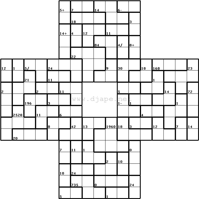 It is a graphic of Printable Kenken Puzzle pertaining to arithmetic